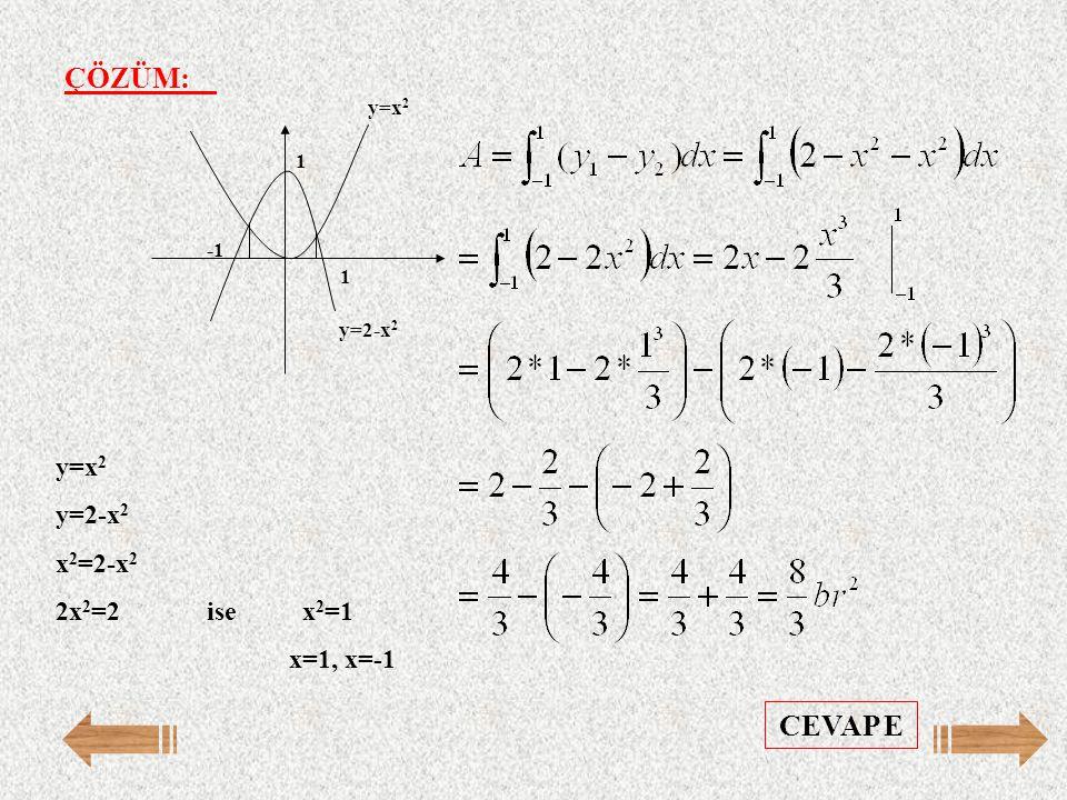 ÇÖZÜM: CEVAP E y=x2 y=2-x2 x2=2-x2 2x2=2 ise x2=1 x=1, x=-1 y=x2 -1 1