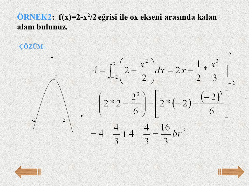 ÖRNEK2: f(x)=2-x2/2 eğrisi ile ox ekseni arasında kalan alanı bulunuz.
