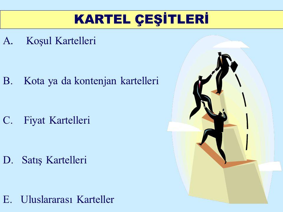 KARTEL ÇEŞİTLERİ A. Koşul Kartelleri