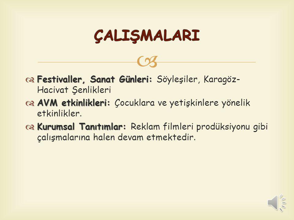 ÇALIŞMALARI Festivaller, Sanat Günleri: Söyleşiler, Karagöz-Hacivat Şenlikleri. AVM etkinlikleri: Çocuklara ve yetişkinlere yönelik etkinlikler.