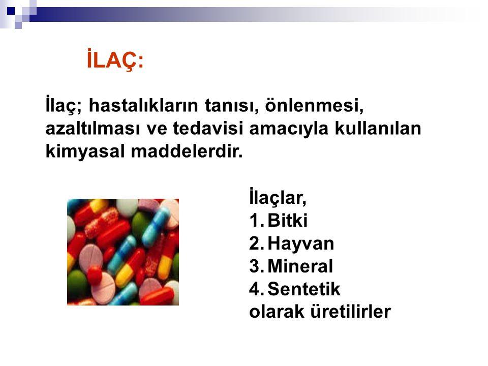 İLAÇ: İlaç; hastalıkların tanısı, önlenmesi, azaltılması ve tedavisi amacıyla kullanılan kimyasal maddelerdir.