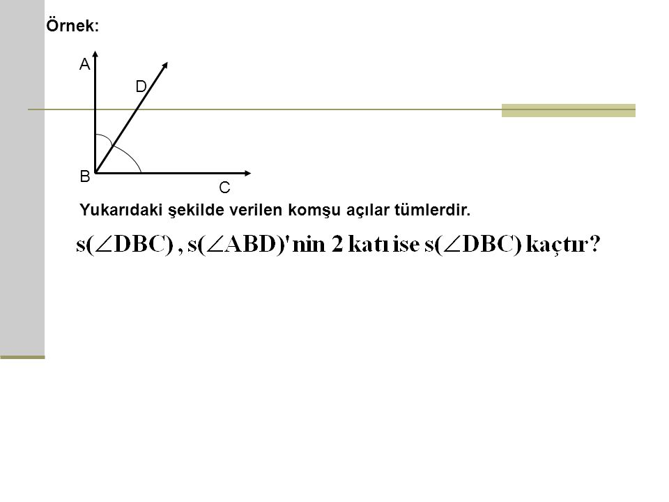 Örnek: A D B C Yukarıdaki şekilde verilen komşu açılar tümlerdir.