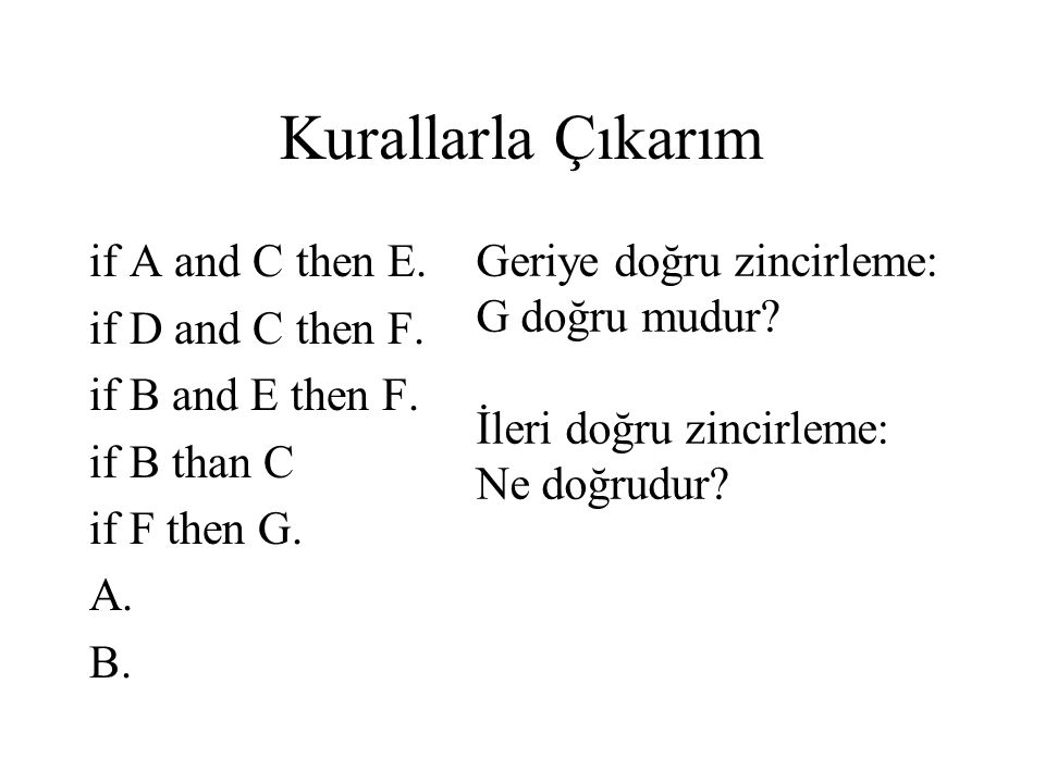 Kurallarla Çıkarım if A and C then E. if D and C then F.