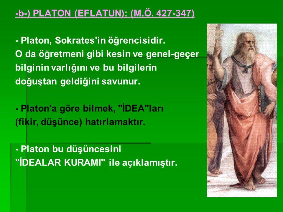 -b-) PLATON (EFLATUN): (M.Ö. 427-347)