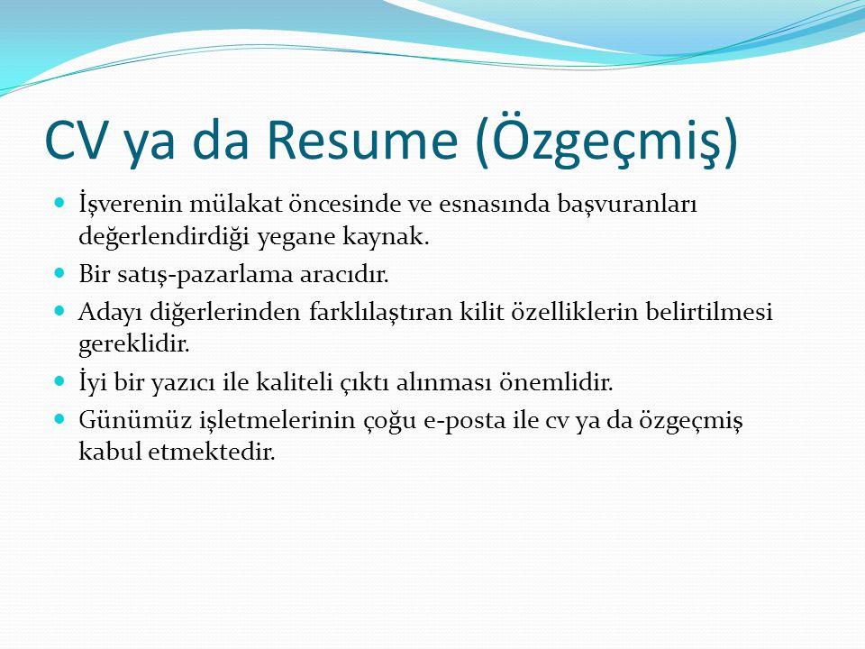 CV ya da Resume (Özgeçmiş)
