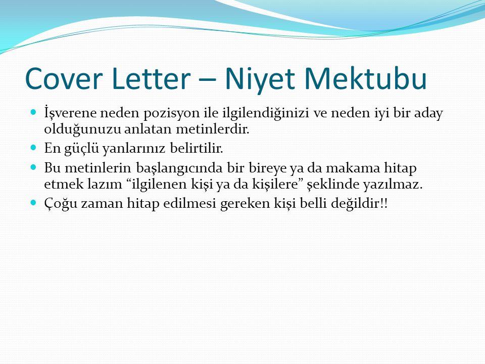 Cover Letter – Niyet Mektubu