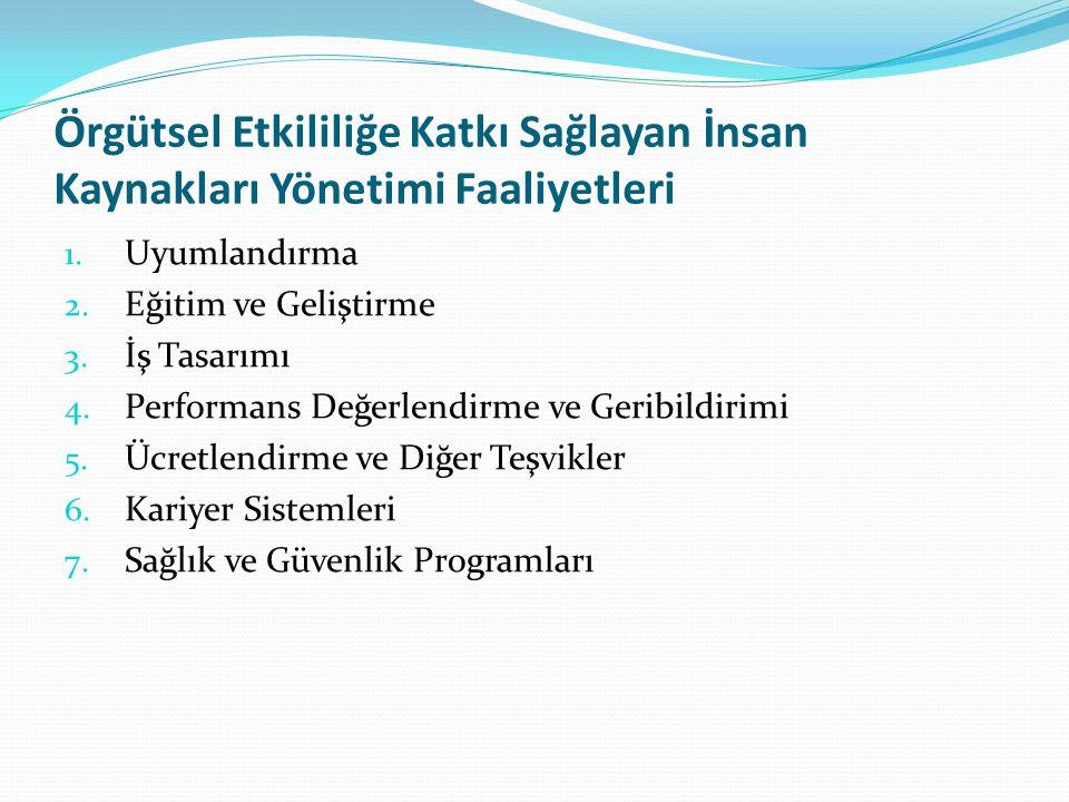 Örgütsel Etkililiğe Katkı Sağlayan İnsan Kaynakları Yönetimi Faaliyetleri
