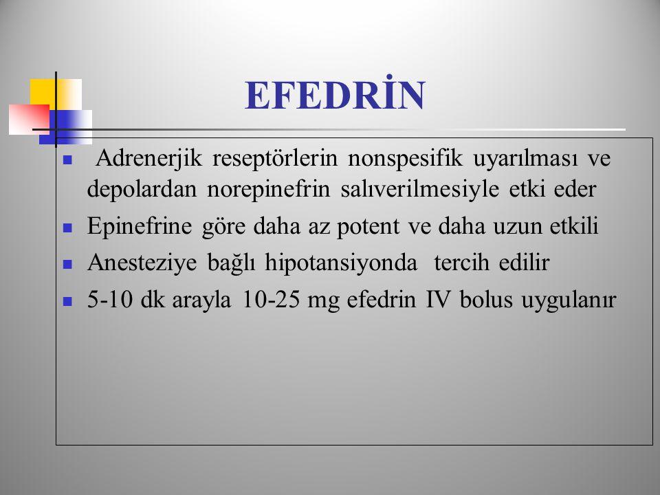 EFEDRİN Adrenerjik reseptörlerin nonspesifik uyarılması ve depolardan norepinefrin salıverilmesiyle etki eder.