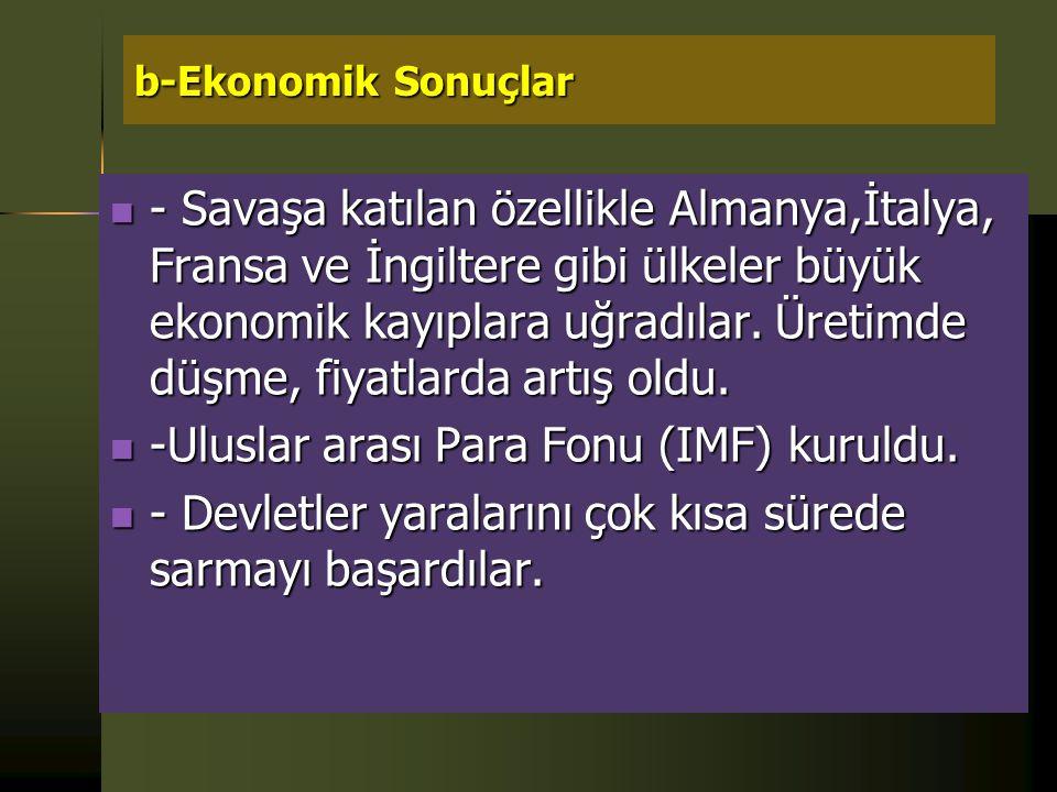 -Uluslar arası Para Fonu (IMF) kuruldu.