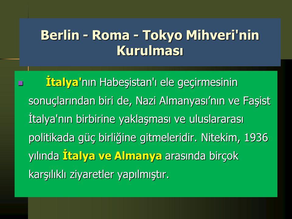 Berlin - Roma - Tokyo Mihveri nin Kurulması