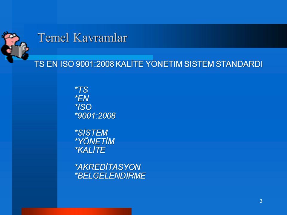 Temel Kavramlar TS EN ISO 9001:2008 KALİTE YÖNETİM SİSTEM STANDARDI