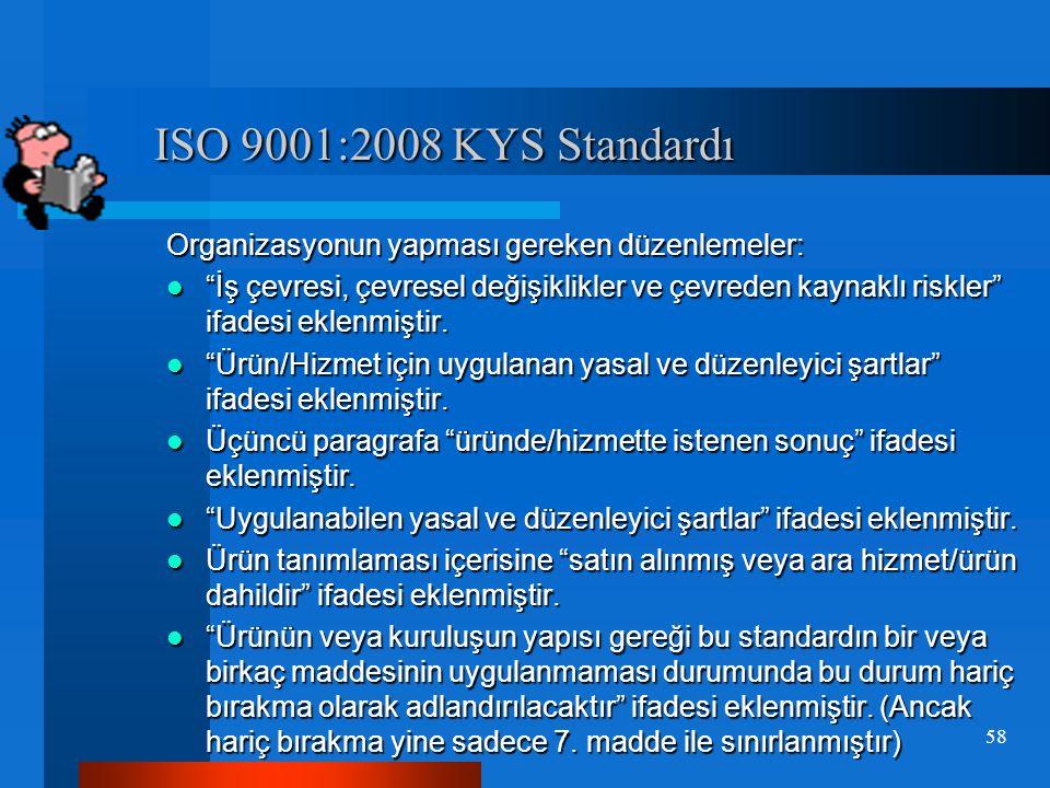 ISO 9001:2008 KYS Standardı Organizasyonun yapması gereken düzenlemeler: