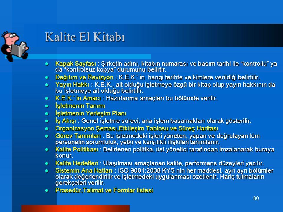Kalite El Kitabı Kapak Sayfası : Şirketin adını, kitabın numarası ve basım tarihi ile kontrollü ya da kontrolsüz kopya durumunu belirtir.