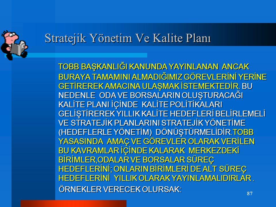 Stratejik Yönetim Ve Kalite Planı