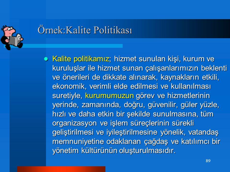 Örnek:Kalite Politikası