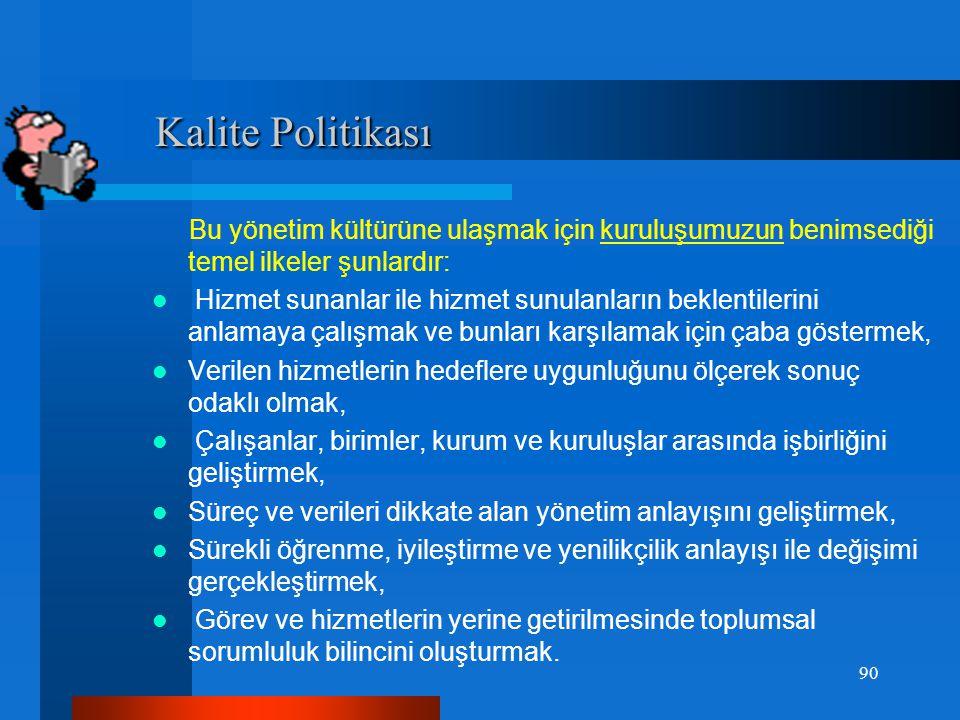 Kalite Politikası Bu yönetim kültürüne ulaşmak için kuruluşumuzun benimsediği temel ilkeler şunlardır: