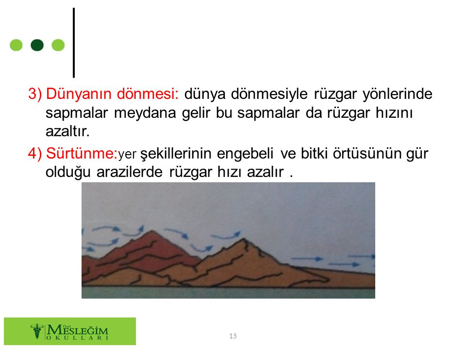 3) Dünyanın dönmesi: dünya dönmesiyle rüzgar yönlerinde sapmalar meydana gelir bu sapmalar da rüzgar hızını azaltır.