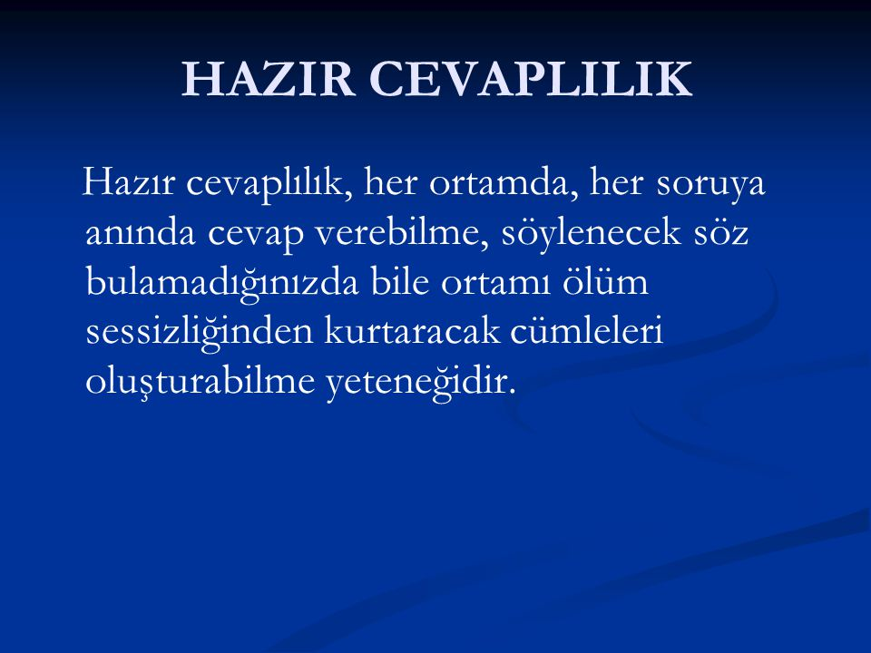 HAZIR CEVAPLILIK