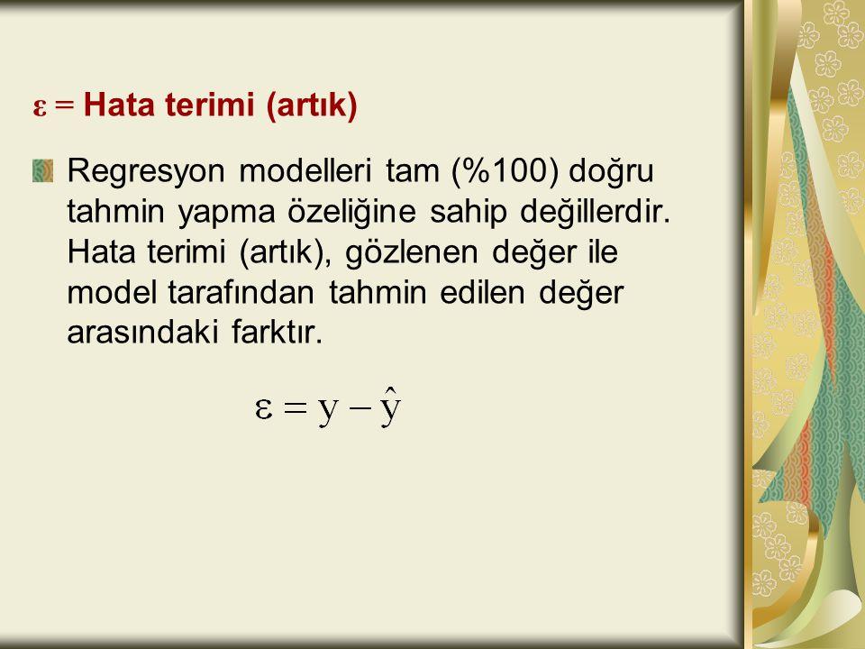 ε = Hata terimi (artık)