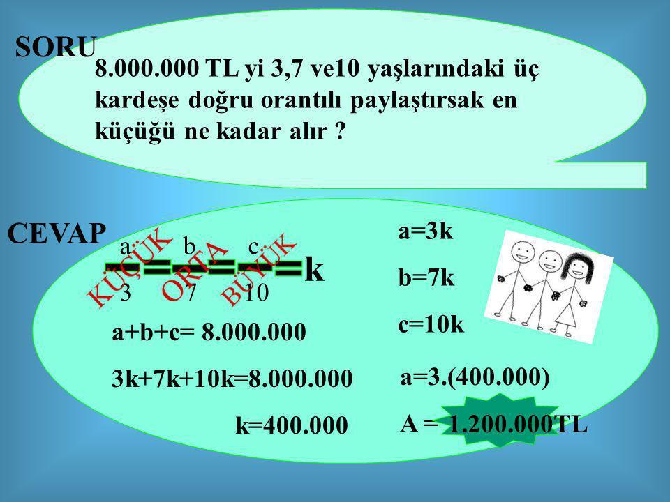 SORU 8.000.000 TL yi 3,7 ve10 yaşlarındaki üç kardeşe doğru orantılı paylaştırsak en küçüğü ne kadar alır