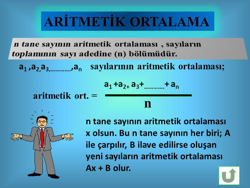 ARİTMETİK ORTALAMA n tane sayının aritmetik ortalaması , sayıların toplamının sayı adedine (n) bölümüdür.