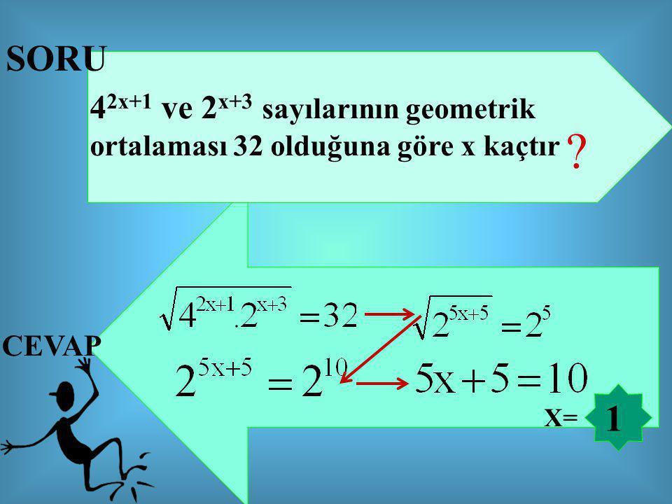 SORU 42x+1 ve 2x+3 sayılarının geometrik ortalaması 32 olduğuna göre x kaçtır CEVAP 1 X=