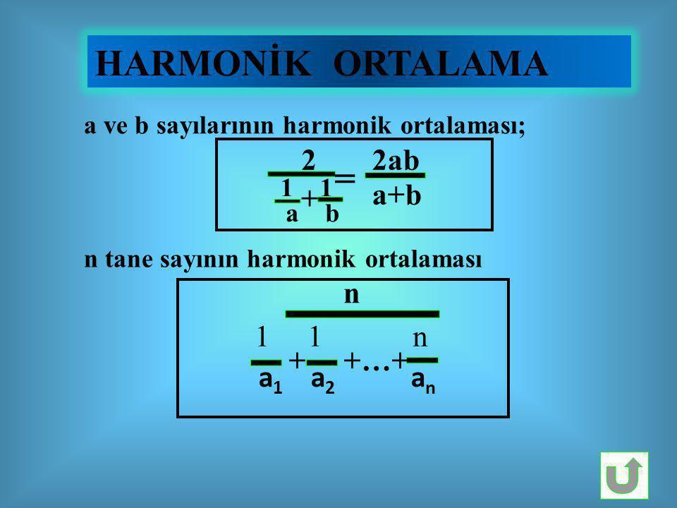 HARMONİK ORTALAMA = a b 2ab a+b + n 1 1 n a1 a2 an + +…+