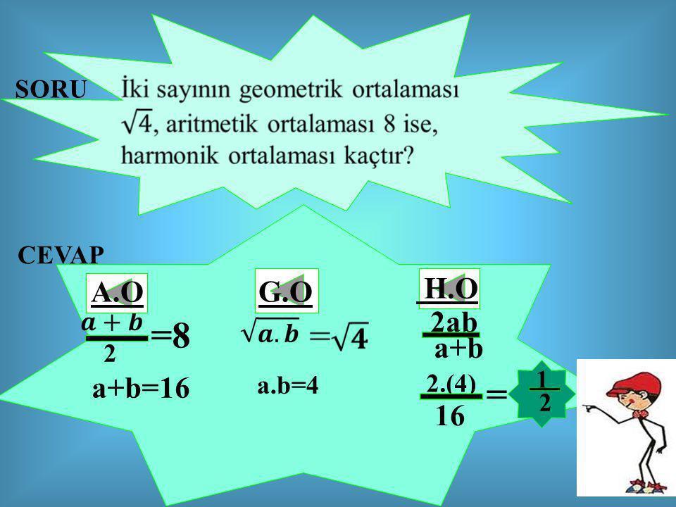 SORU CEVAP A.O G.O H.O 2ab =8 a+b 2 1 a+b=16 a.b=4 2.(4) = 2 16