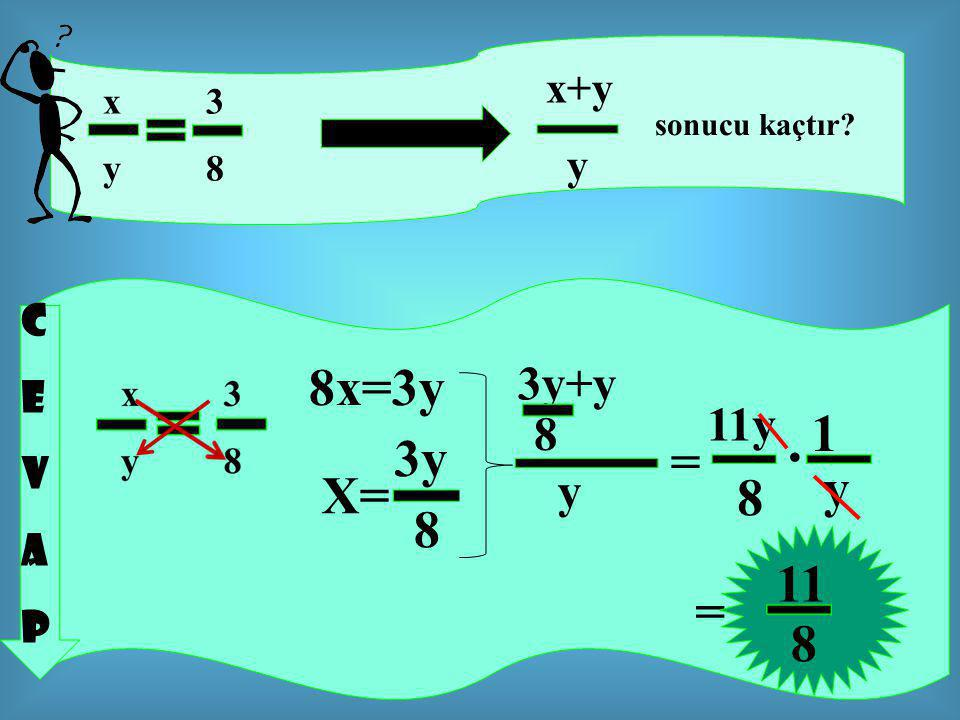 . 8x=3y 1 3y = y X= 8 8 11 = 8 3y+y 11y 8 y x+y y C E V A P x 3 y 8