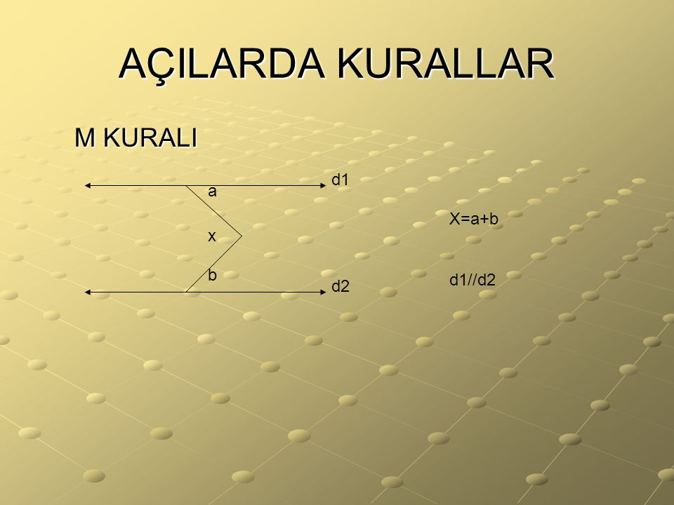 AÇILARDA KURALLAR M KURALI d1 a X=a+b d1//d2 x b d2