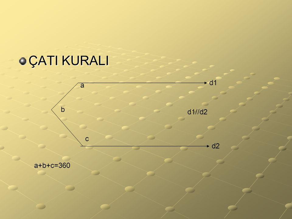 ÇATI KURALI d1 a b d1//d2 c d2 a+b+c=360