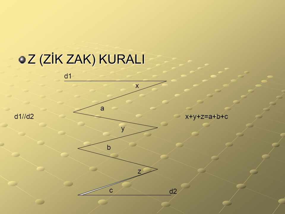 Z (ZİK ZAK) KURALI d1 x a d1//d2 x+y+z=a+b+c y b z c d2