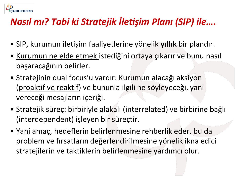Nasıl mı Tabi ki Stratejik İletişim Planı (SIP) ile….