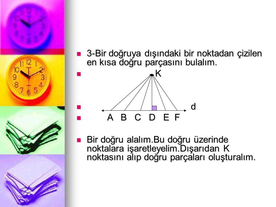 3-Bir doğruya dışındaki bir noktadan çizilen en kısa doğru parçasını bulalım.