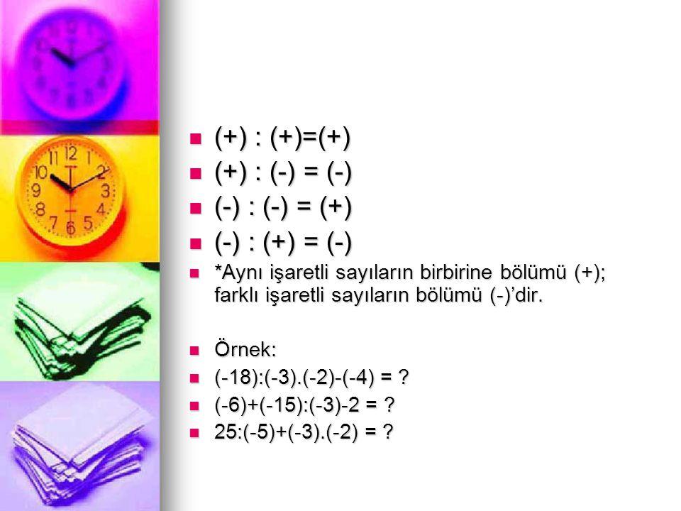 (+) : (+)=(+) (+) : (-) = (-) (-) : (-) = (+) (-) : (+) = (-)