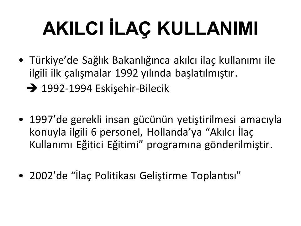 AKILCI İLAÇ KULLANIMI Türkiye'de Sağlık Bakanlığınca akılcı ilaç kullanımı ile ilgili ilk çalışmalar 1992 yılında başlatılmıştır.