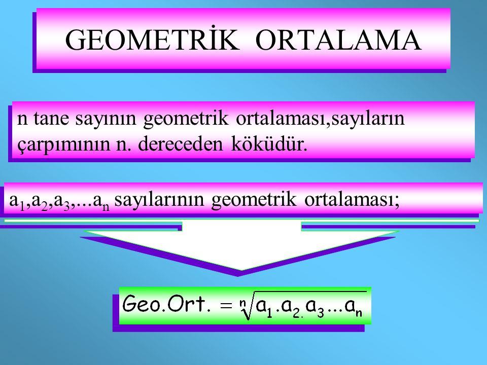 GEOMETRİK ORTALAMA n tane sayının geometrik ortalaması,sayıların çarpımının n.