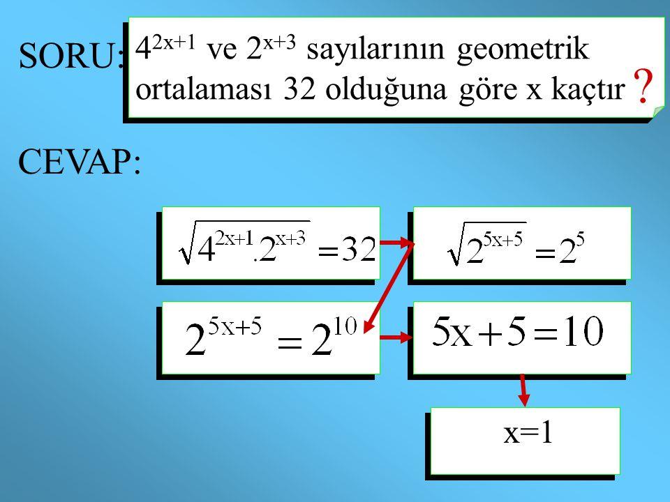42x+1 ve 2x+3 sayılarının geometrik ortalaması 32 olduğuna göre x kaçtır