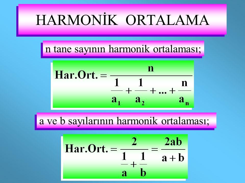 HARMONİK ORTALAMA n tane sayının harmonik ortalaması;