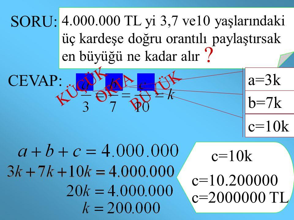 SORU: KÜÇÜK CEVAP: ORTA a=3k BÜYÜK b=7k c=10k c=10k c=10.200000