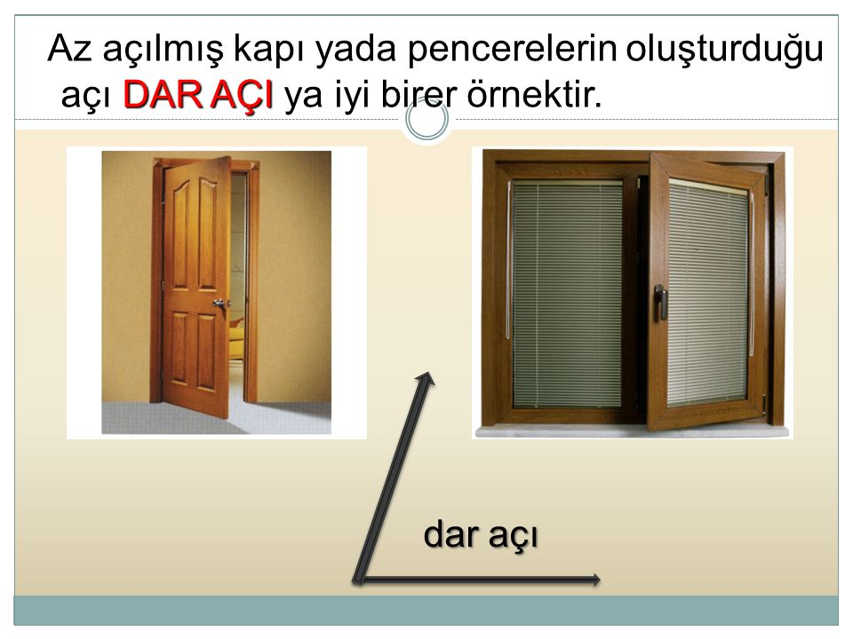 Az açılmış kapı yada pencerelerin oluşturduğu açı DAR AÇI ya iyi birer örnektir.