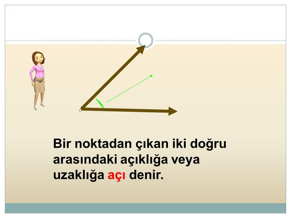 Bir noktadan çıkan iki doğru arasındaki açıklığa veya uzaklığa açı denir.