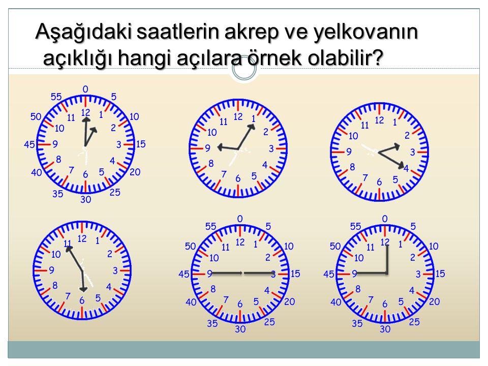 Aşağıdaki saatlerin akrep ve yelkovanın açıklığı hangi açılara örnek olabilir
