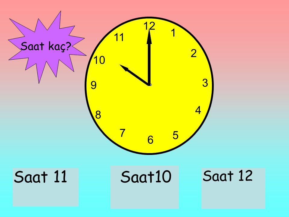12 1 11 Saat kaç 2 10 3 9 4 8 7 5 6 Saat 11 Saat10 Saat 12