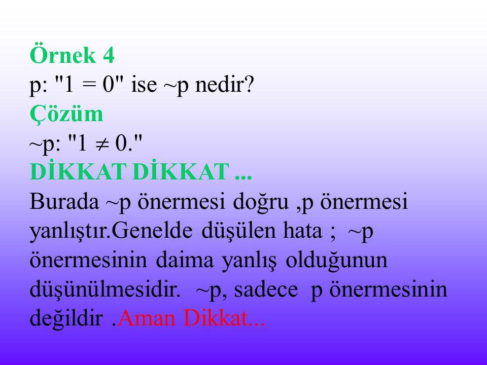 Örnek 4 p: 1 = 0 ise ~p nedir Çözüm. ~p: 1  0. DİKKAT DİKKAT ...