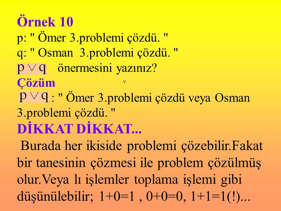 Örnek 10 p: Ömer 3.problemi çözdü. q: Osman 3.problemi çözdü. önermesini yazınız Çözüm.
