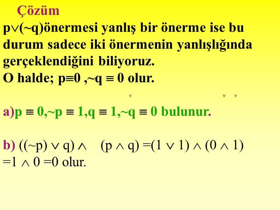 Çözüm p(~q)önermesi yanlış bir önerme ise bu durum sadece iki önermenin yanlışlığında gerçeklendiğini biliyoruz.
