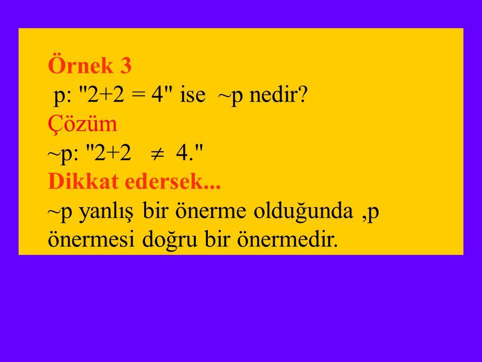 Örnek 3 p: 2+2 = 4 ise ~p nedir. Çözüm. ~p: 2+2  4. Dikkat edersek...