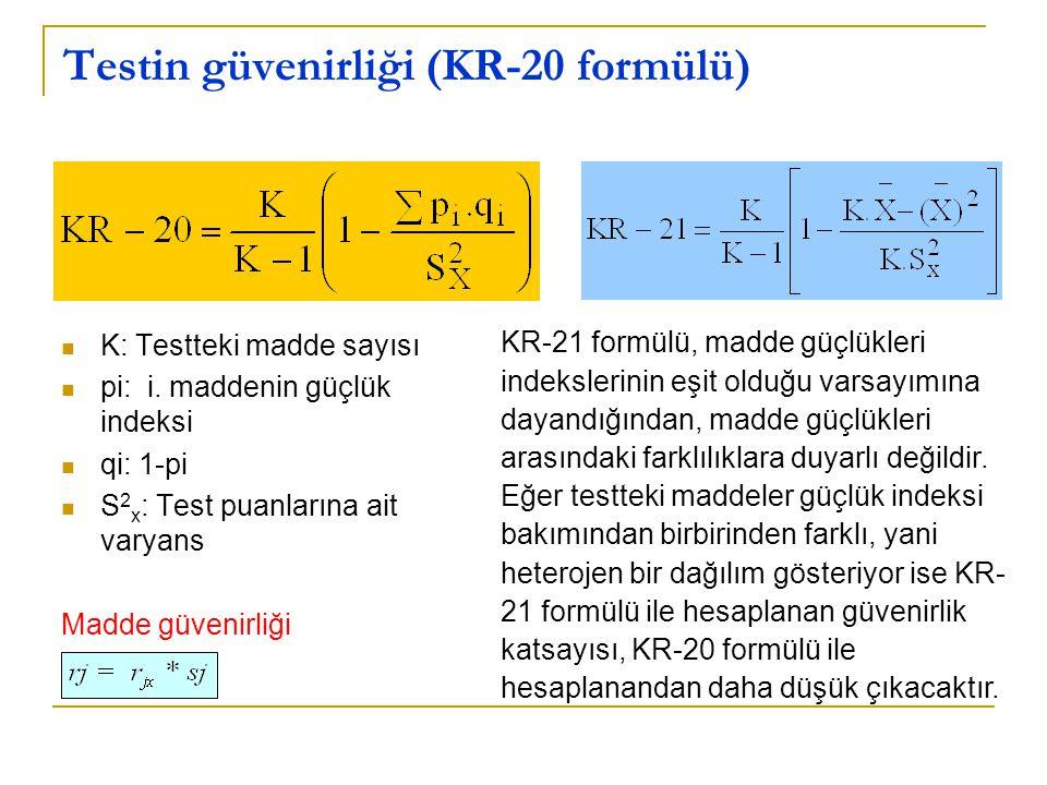 Testin güvenirliği (KR-20 formülü)