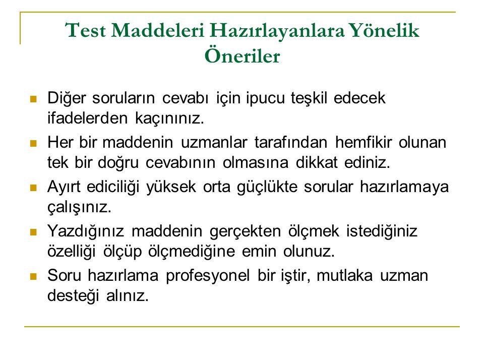 Test Maddeleri Hazırlayanlara Yönelik Öneriler